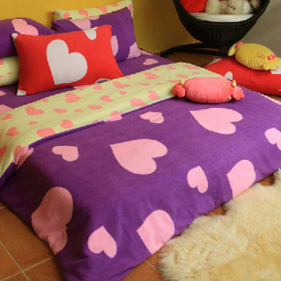 英國Abelia《摩登甜心》雙人四件式防蹣抗菌珍珠絨被套床包組-紫+黃