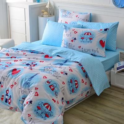 義大利Fancy Belle《情定巴黎》雙人四件式舖棉兩用被床包組