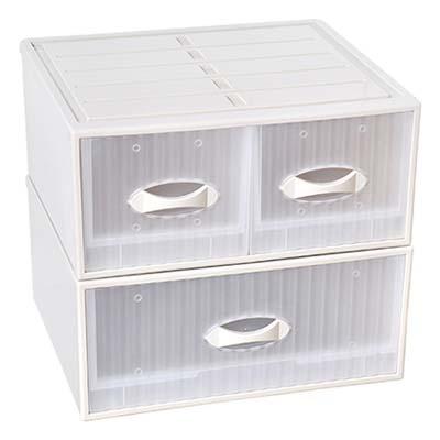【SONA HOME收納家】亞米單層抽屜整理箱 2入(單抽+雙抽)