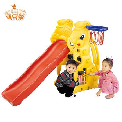 寶貝樂 小白兔歡樂溜滑梯組~附籃框籃球【SL-07】(MT0077)