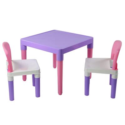☆ DELSUN ☆ [DELSUN 7901P] 兒童桌椅組 粉紫 塑膠 DIY組合 多功能 台灣製造 安檢 1桌2椅