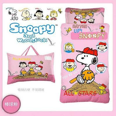 【睡袋均一價】【卡通授權】幼教兒童睡袋 史努比棒球篇 (粉紅)