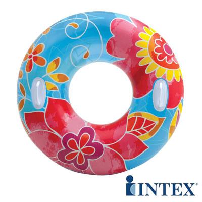 INTEX繽紛花色透明浮圈游泳圈