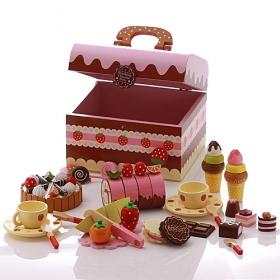 【TOP熱銷品】巧克力餅乾下午茶木製玩具手提組(蛋糕點心)
