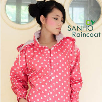 Sanho清雅圓點風雨衣(甜美粉) one size(150-170cm)