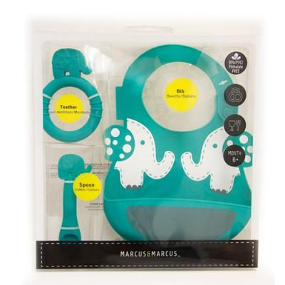 【金狗年大促銷】MARCUS&MARCUS動物樂園矽膠哺育禮盒組-大象