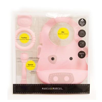 【金狗年大促銷】MARCUS&MARCUS動物樂園矽膠哺育禮盒組-粉紅豬