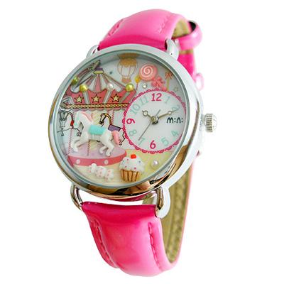 【均一33折】韓國MINI 手工軟陶創意手錶-旋轉木馬