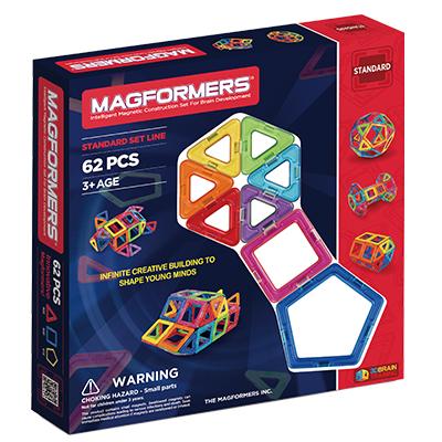 Magformers磁性建構片-62片裝(贈車輪架+摩天輪架+磁片專用收納盒)