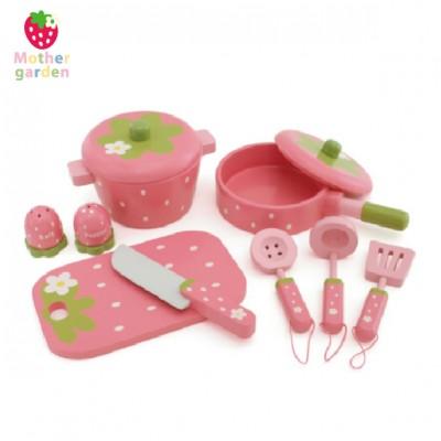 「日本Mother Garden」野草莓廚具小幫手9件組(深粉)