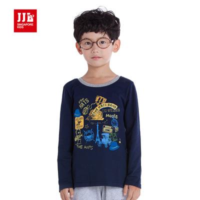 【JJLKIDS】搖滾塗鴉圓領上衣T恤(淺灰)