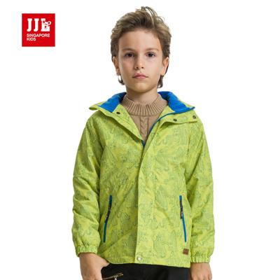 【JJLKIDS】極度保暖卡通造型風衣連帽外套(螢光綠)