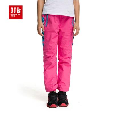 【JJLKIDS】休閒運動保暖造型百搭防風褲(玫紅)