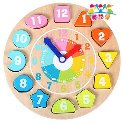 【樂兒學】可愛動物時鐘益智木製學習積木(MT0436)