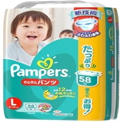 【特賣】Pampers 綠色幫寶適巧虎幫寶適增量版紙尿褲(褲型)L號 58×3包1箱