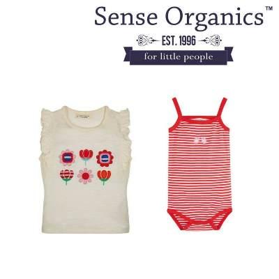 德國Sense Organics 100%有機棉(蝴蝶袖上衣及細肩帶包屁衣2件組)