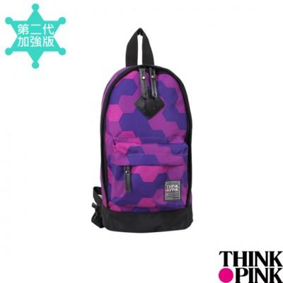 【迎夏快樂購】THINK PINK - 義大利品牌 幻彩系列 單肩。雙肩兩用包 - 幾何紫115-7602-718