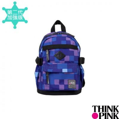 【迎夏快樂購】THINK PINK 幻彩系列 第二代加強版 迷你後背包。童包 - 方格紫115-7606-708