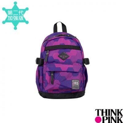 【迎夏快樂購】THINK PINK 幻彩系列 第二代加強版 迷你後背包。童包 - 幾何紫115-7606-718