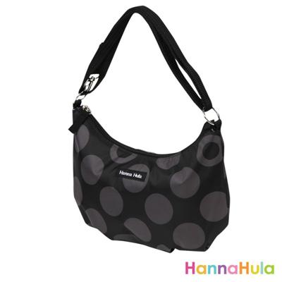 【日本 Hanna Hula】輕量側肩包/媽媽包(黑灰點)