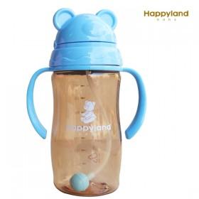特賣【韓國 HAPPYLAND】350ml Tritan學習喝水防脹氣果汁杯/喝水杯(藍色)