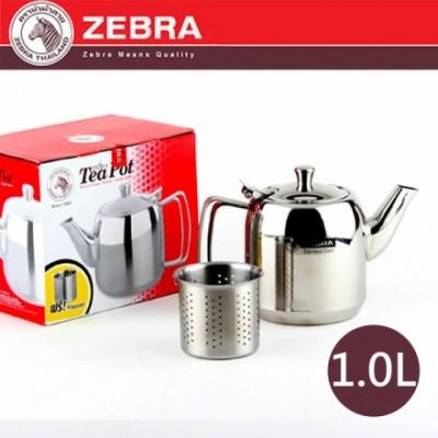 【斑馬ZEBRA】#304不鏽鋼泡茶壺 附濾網 1.0L 113404