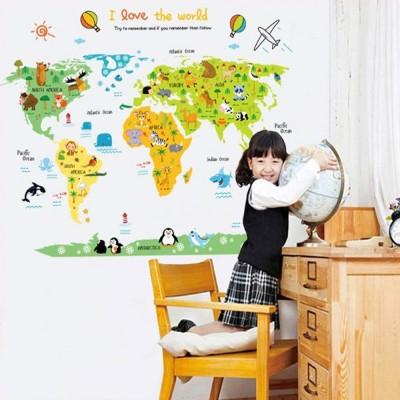 【時尚壁貼】卡通世界地圖