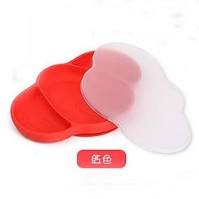 【特賣】可愛象造型矽膠防滑餐盤-附蓋(紅)