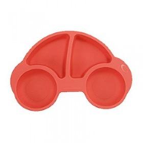【特賣】噗噗車造型矽膠防滑餐盤(紅)