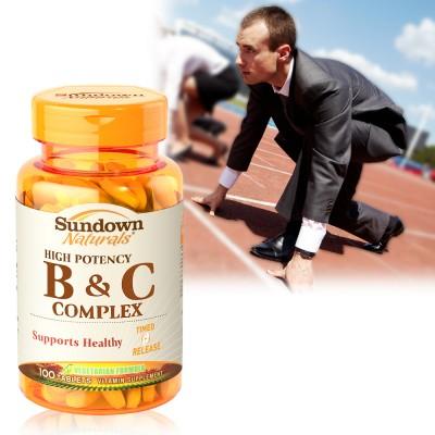 【換季過敏】《Sundown》高單位緩釋型B群+C(B12強化配方)(100錠/瓶)