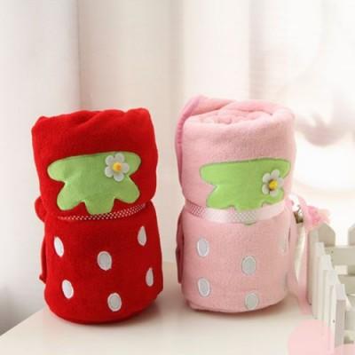 可愛草莓造型毛毯/嬰兒蓋毯/午睡毯/冷氣毯(二色可選)