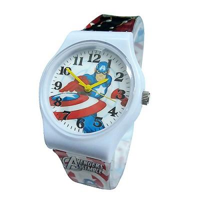 【單支免運】漫威MARVEL 美國隊長兒童錶卡通錶(白)