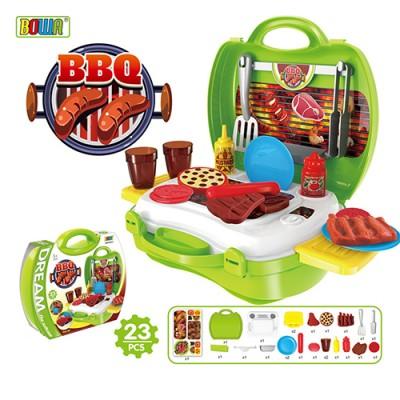 【大降價↘】多功能家家酒兒童玩具-仿真手提收納BBQ燒烤爐烤肉組