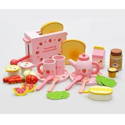 【TOP熱銷品】吐司麵包木製玩具組-附木製麵包機一台(可活動)