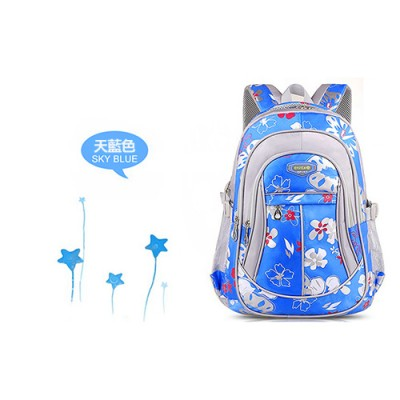 【開學用品清單】韓版時尚花卉多層輕量減壓雙肩後背書包-藍
