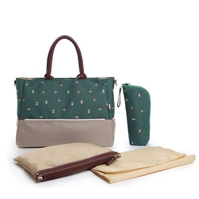 【特賣】YABIN台灣獨家代理-時尚小花點媽媽包 可掛推車-草綠色