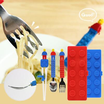 【線上婦幼展】OXFORD 韓國積木 304不鏽鋼湯叉筷組(四件餐具組+收納盒) 1入