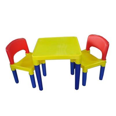 【促銷88折】DELSUN 兒童桌椅組(8101) 原色 塑膠收納架 DIY 多功能 台灣製造 安檢 1桌2椅