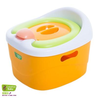 【特賣9折】美國Creative Baby 創寶貝 多功能三合一學習軟墊馬桶 橘-再贈尿布