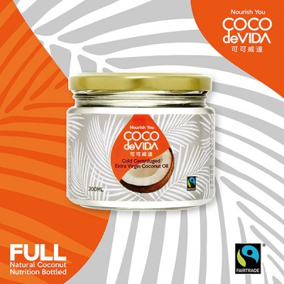 可可威達公平貿易天然冷離心初榨椰子油 300ml