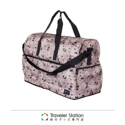 【 HAPI+TAS】貓咪蕾絲摺疊旅行袋(大)-米色
